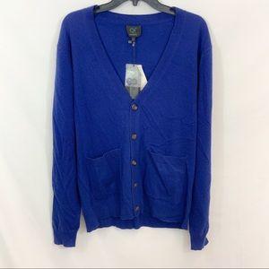New Qi Cashmere Royal Blue V-Neck Cardigan $140